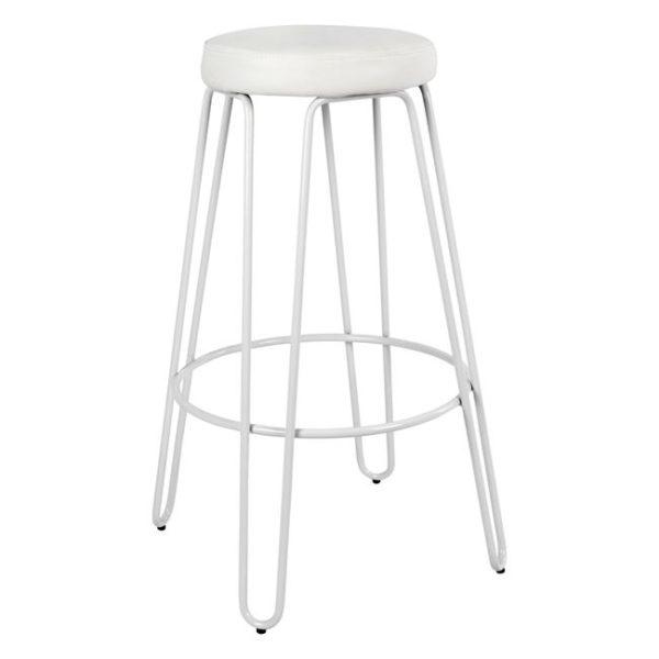 бял метален бар стол