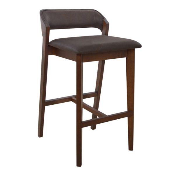 Дървен бар стол кафяв