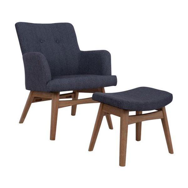 тъмно сиво кресло комплект с табуретка